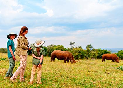 Familie finder næsehorn på en safari