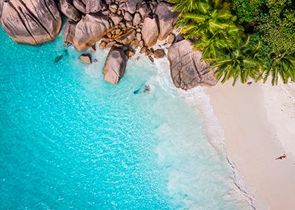 Hvid sandstrand på Seychellerne