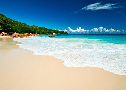 Sandstrand i Seychellerne