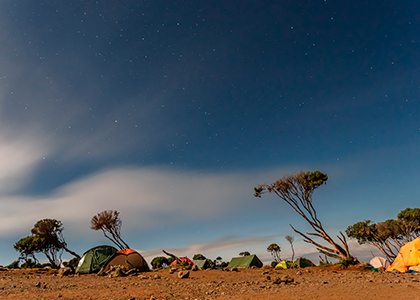 Shira Hut på Mount Kilimanjaro i Tanzania