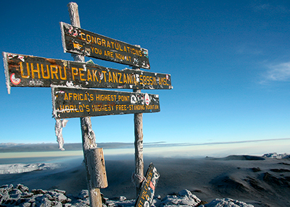 Afrikas højeste punkt, Uhuru Peak på toppen af Kilimanjaro