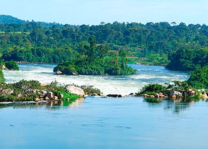 River Nile tæt ved Jinja i Uganda